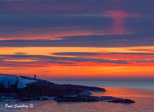 Paul Sundberg took this photo beautiful photo recently. He said i is the most intense sunrise he's seen in Grand Marais in years. Enjoy!