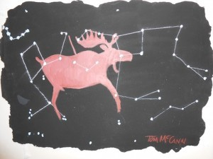 """""""Wounded Moose,"""" by Tom McCann is one of the pieces in the Mapping Mystery exhibit."""