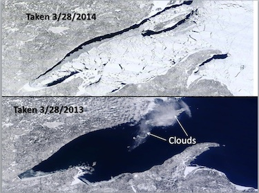 Lake Superior in March 2014 and March 2013