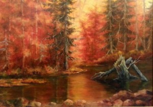 """Gunflint Abalze"" by Alicja Stoeger is on exhibit at the Heritage Post."