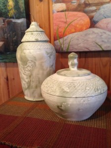Porcelain urns by Maggie Anderson are at the Kah Nee Tah Gallery in Lutsen.