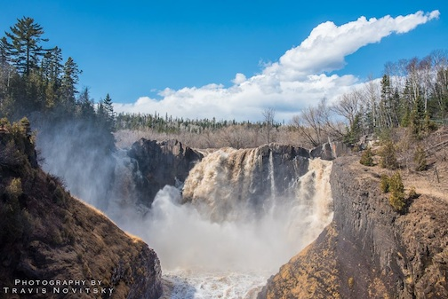 "Travis Novitsky took this great shot of the High Falls in Grand Portage the other day. He calls it ""Waterfall Season is officially here."""