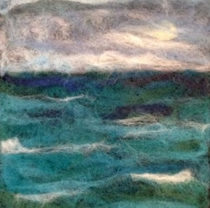 This felted painting by Bonnie Gay Hedstrom is at Kah Nee Tah Gallery.