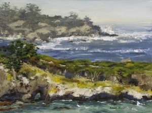 "This painting by Sandi ""Point Lobos–China Point"" by Sandi Pillsbury-Gredzens."