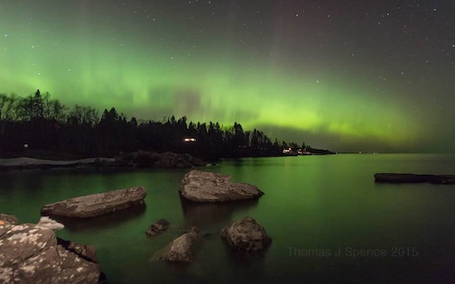 """Northern Lights at Schroeder,"" by Thomas Spence."