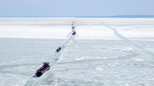 Ships are trapped in the ice in Whitefish Bay in eastern Lake Superior. Kenneth Armstrong of Reuters caught this image on Wednesday.