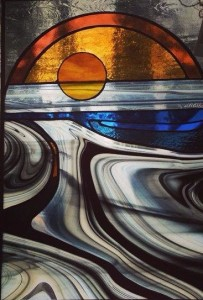 Stained glass window by Dorothy Hall is a Kah-Nee-Tah Gallery in Lutsen.