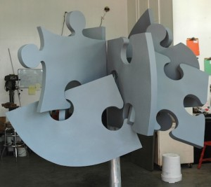Tom Christiansen's sculpture for the library is nearing completion.
