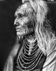 """Chief Three Eagles"" by Mary McPherson, graphite on paper, is in the Secondary School exhibit."