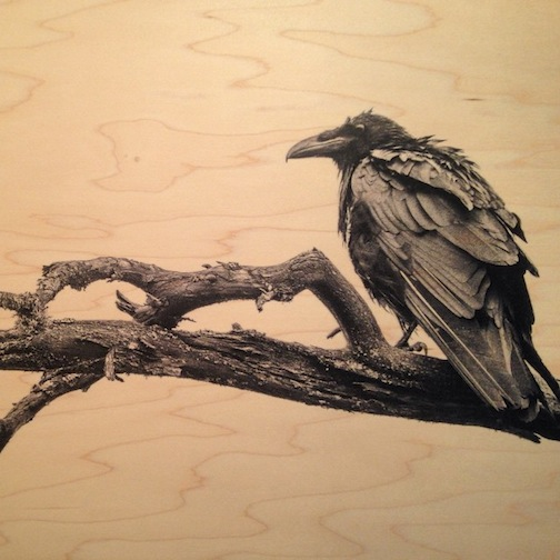 """Nevermore,"" a print on maple wood by Nace Hagemann is available at Kah-Nee-Tah Gallery."