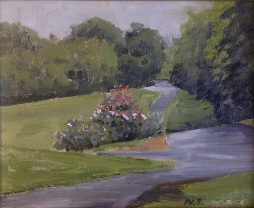 "Neil Sherman won first place for his quick paint at the Duluth Plein Air Festival last week. ""let's Meet Here"" 8 x 10."