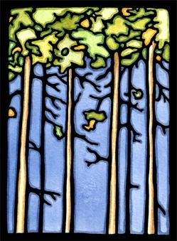 "Sarah Angst has new work at Sivertson Gallery. This linoleum block print is called ""Trees."""