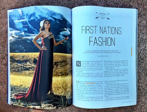 This photo by Stephan Hoglund was featured in the Cowboys and Indians Magazine recently. The article was about native fashion designers.