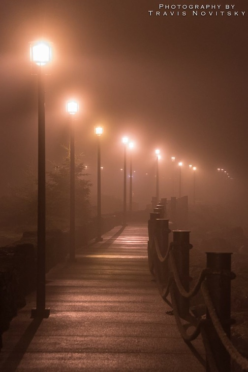"""A Foggy Night in Grand Marais"" by Travis Novitsky."