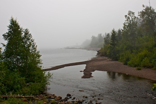 Cross River flows into Lake Superior on a foggy day. Photo courtesy Lamb's Resort.