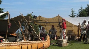 Re-enactors set up a tent at Rendezvous Days.