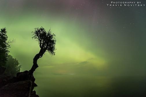 travis lake superior fog & northern lights