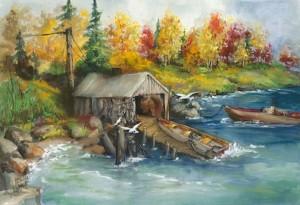 """Beaver Bay Fish House"" by Edie Hangartner."