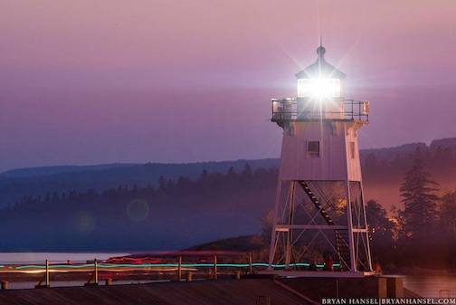 """Blue Hour Turned Pink Over Grand Marais"" by Bryan Hansel."