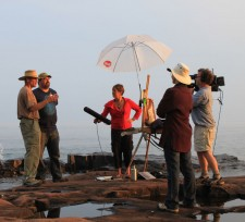 """The Playlist's Karen Sunderman interviews Lloyd Scott Anderson and Neil Sherman at Artists' Point during the taping of """"Plein Air Brush Off."""""""