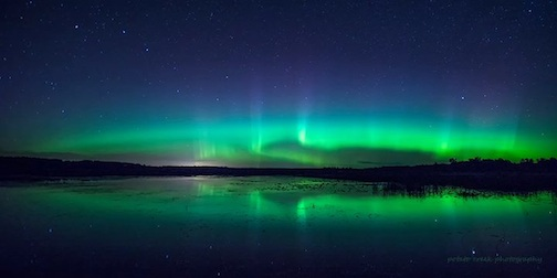 Northern Lights panorama by Kirk Schleife.