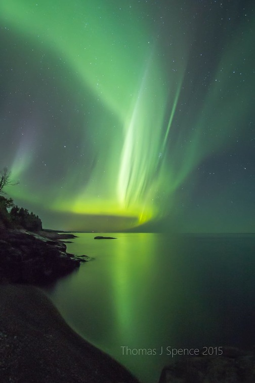 Thomas Spence caught this amazing flare of northern lights the other night. Enjoy!