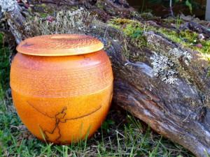 Porcelain raku horsehair urn by Maggie Anderson.