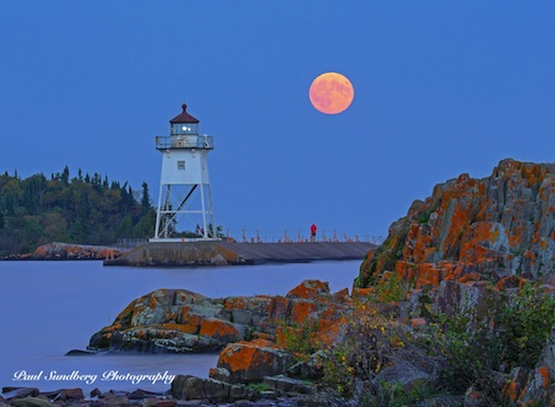 Mooonrise over Grand Marais Harbor by Paul Sundberg.