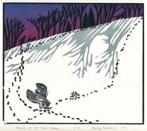 """Wonder,"" woodcut print by Betsy Bowen."