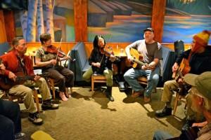 Bluegrass musicians jam all weekend during the Bluegrass Masters Weekend at Lutsen Resort.