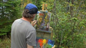 Plein air painter David Gilsvik working on a painting during Plein Air 2015.