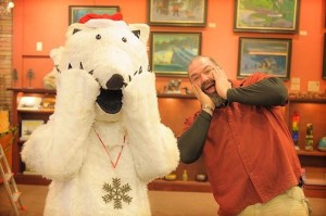 The Sivertson Bear and Neil Sherman ham it up at Sivertson Gallery, inviting everyone to join them in holiday cheer. The Bear will be in the Christmas Parade.