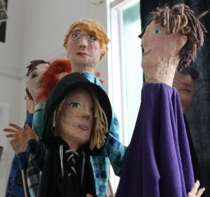 A few of the papier mache puppets on exhibit at the Grand Marais Art Colony.