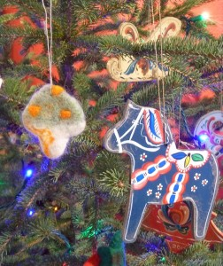 The Holiday Art Underground show at Betsy Bowen's Studio has a wide variety of art by local artists including handmade ornaments.
