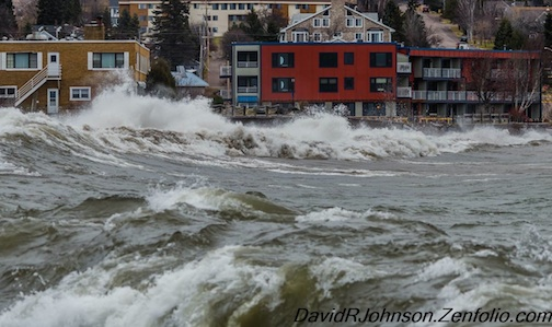 "David Johnson took this photo of our nor'easter this week. He calls it ""Awesome Waves."" Enjoy!"