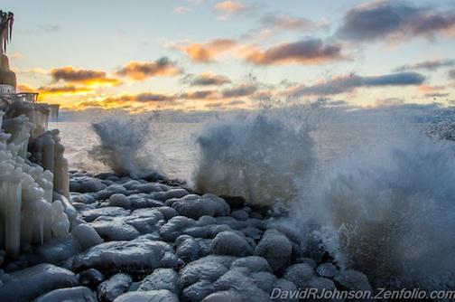 Lake Superior making ice candles by David Johnson.