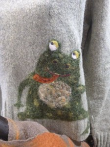 Elise Kylo has hand-felted sweaters, scarves and holiday ornaments at the Art Underground show at Betsy Bowen's Studio.
