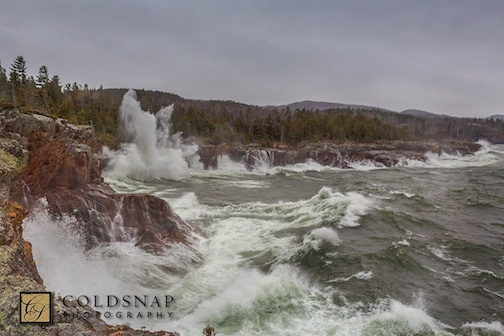"""Wave Action at Shovel Point at Tettegouche State Park"" by John Gregor."