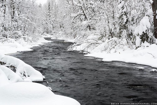 """Winter Snow on Devil Track River"" by Bryan Hansel."