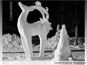 Reindeer snow sculpture by Kyle Silvnik. Photo by Damon Dowbak.