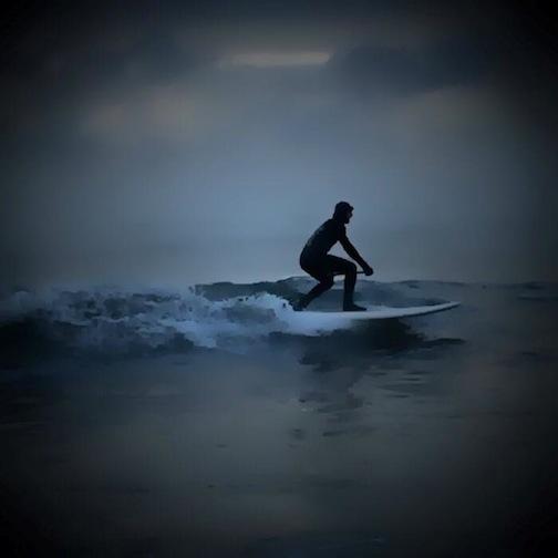 Cold North Shore surfer by Kim Weber Christenson.