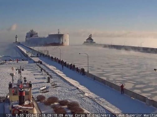 The last ship of the season comes into Duluth, the Paul R Tregurtha. Photo courtesy of the Lake Superior Marine Museum.