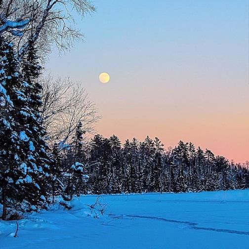 """""""Moonrise over East Bearskin."""" courtesy Bearskin Lodge."""