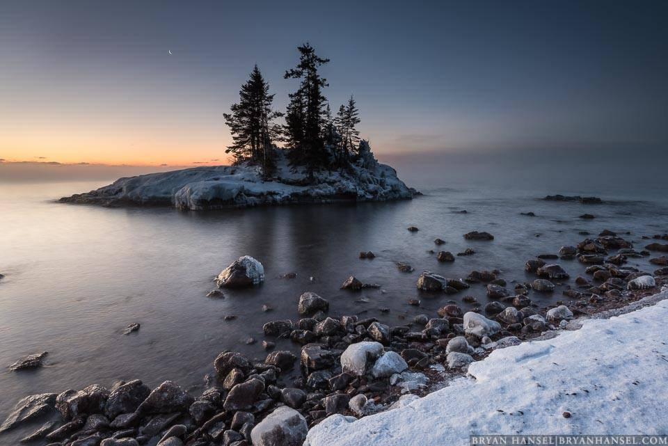 Crescent Moon, the Island and Lake Superior by Bryan Hansel.
