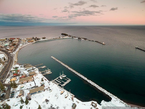 An aerial view of Grand Marais at sunset by Bryan Hansel.