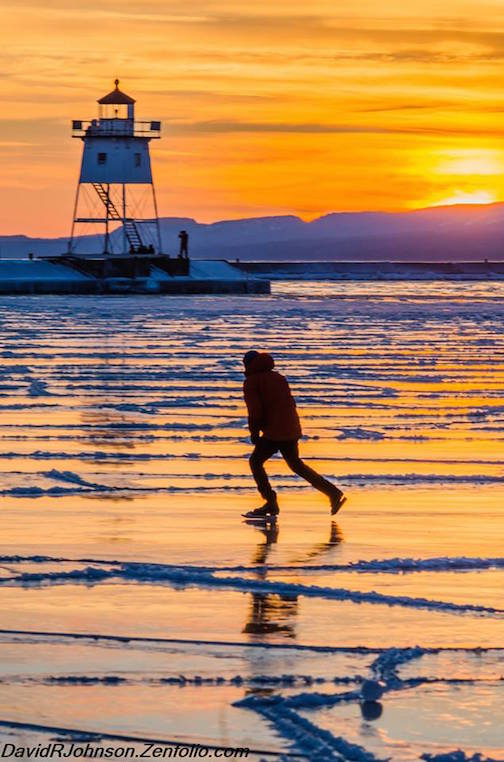 David Johnson took this photo of a skater on sunset ice on the harbor recently.