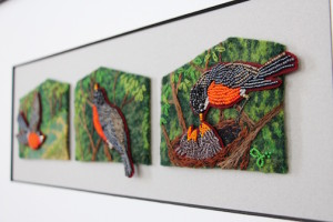 Bead paintings by Jo Wood, part of her No Place Like Home series.