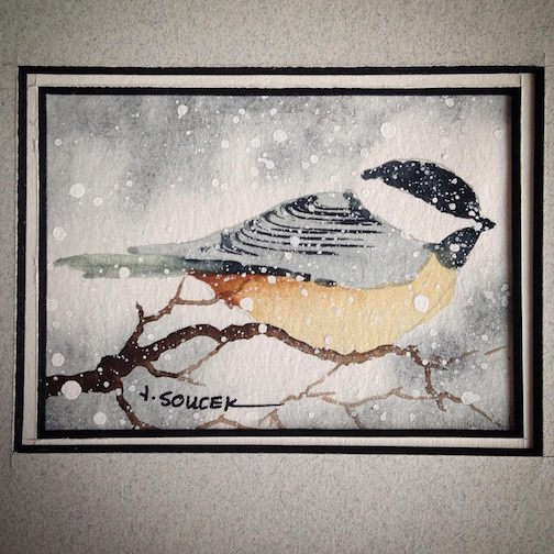 Here's a sweet painting of a chickadee by Tom Koucek. It's a Kah-Nee-Tah Gallery in Lutsen.