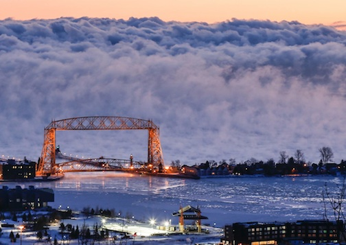 "Tim Mlodozhniec took this incredible photo during the cold snap last week. He calls it ""Sea Smoke in Duluth."""