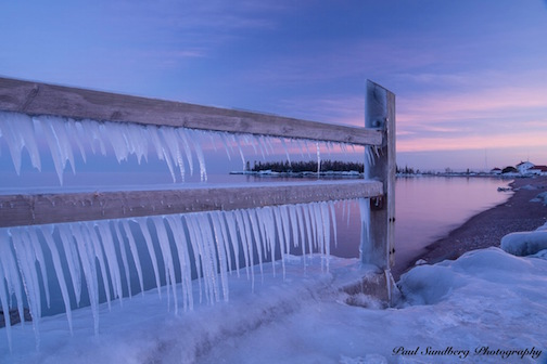 Icicle-Covered Fence by Paul Sundberg.